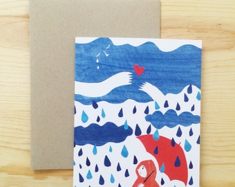 Paper cut-out illustration Sad Rainy Day card