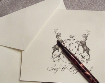Personalized Stag Deer Family Crest Monogrammed Note Cards Woodland Forest Stationery Initial Black Ivory Set 10 Vintage Inspired NoteCards
