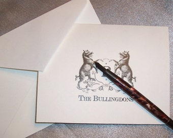 Personalized Boar Family Crest Monogrammed Note Cards Wild Razorback Pig Stationery Initial Black Ivory Set 10 Vintage Inspired NoteCards