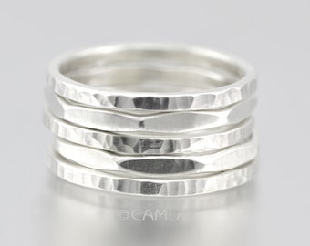 Hammered Stacking Rings Set of 3