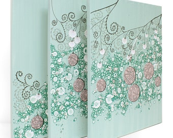 Abstract Painting on Canvas - Textured Art Triptych - Teal and Pink - Large 50x20