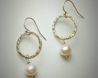 Sterling silver medium size circle earrings with white freshwater pearl