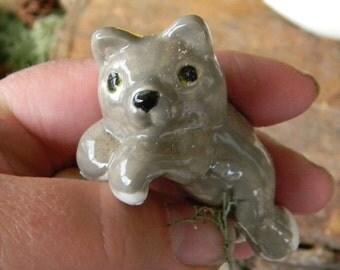 Cat Flower Pot hanger gray Cat Kitten  miniature ceramic decoration for your terrarium Kitty Flower pot, or garden