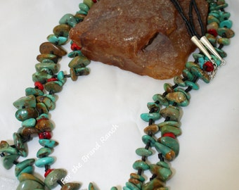 Old Style Native Inspired Turquoise, Coral, and Shell Necklace, two strand