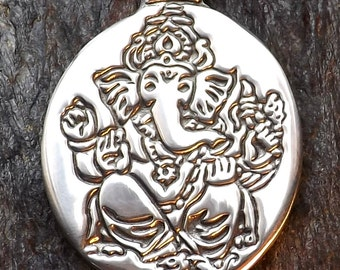 Ganesha - Pewter Pendant - Lord Ganesha is remover of Spiritual Obstacles leading to our success in all endeavors. Hindu Eastern God Jewelry