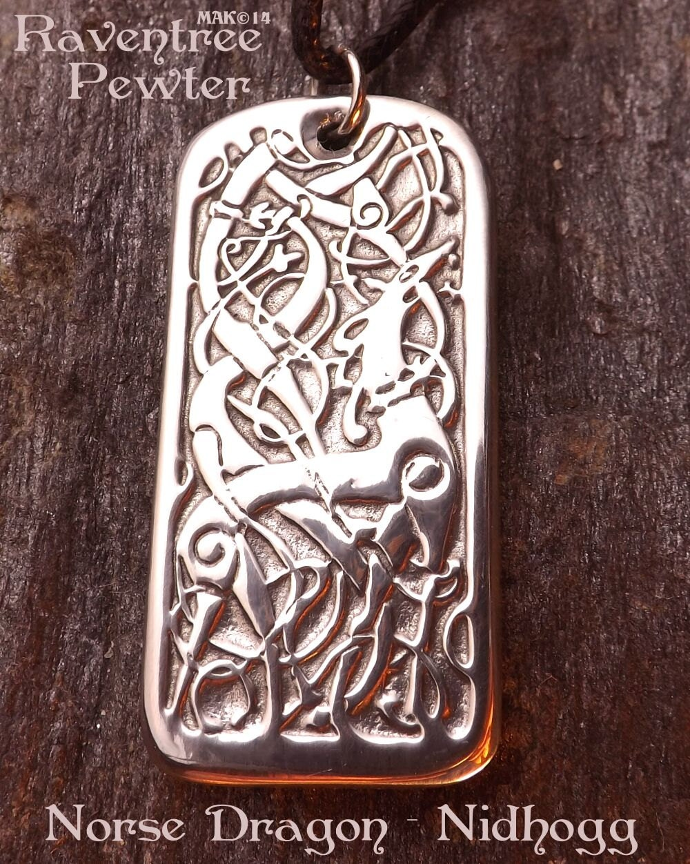 norse dragon nidhogg pewter pendant norse jewelry