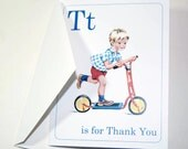 DIGITAL | Boy on a Scooter T is for Thank you Note Card Vintage Style
