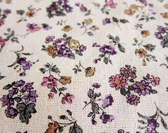 Sweet Vintage Floral in Purple - Japanese Cotton/Linen Fabric - Half Yard