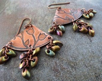 Etched Copper Chandelier Earrings, Floral Etched, Triangle with Glass Metallic Drops