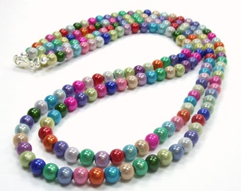 Colorful Rainbow Beaded Necklace - Double Strand Layer Necklace