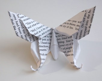 10 Large Swallowtail 3D Origami Butterflies - Pride and Prejudice or Sherlock Holmes