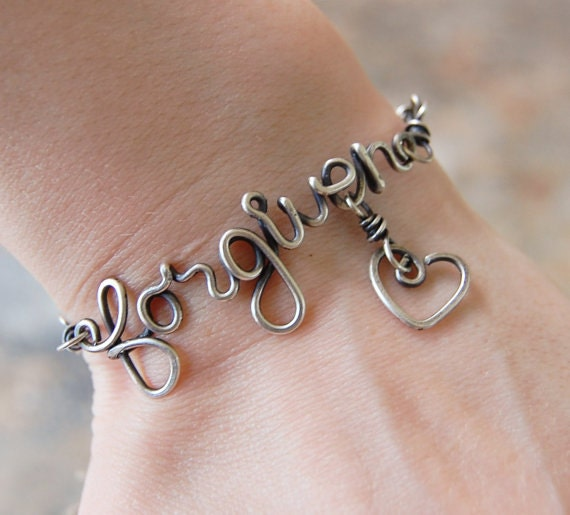 Oxidized. Sterling Silver. Wirewrapped. Forgiven. Heart.  Bracelet.