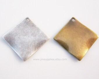 Drop,  Antiqued Silver, 15x15mm Wavy Diamond