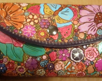 OOAK Clutch Wallet with Flowers Dragonfly and Butterflies  Made in GA USA with Purple Border