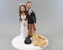 Unique Cake Toppers - Firefighter & Nurse Custom Made Wedding Cake Topper