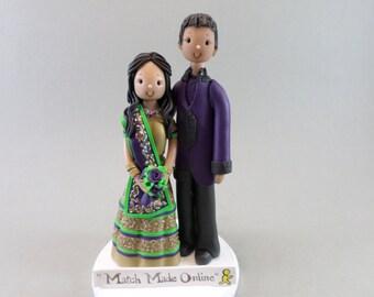 Indian Bride & Groom Custom Handmade Wedding Cake Topper