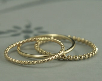 Gold Stacking Set~Solid 14K Gold Stacking Ring Set~Set of 3 Gold Bands~Round, Twist, Beaded~Solid Gold Stacking Rings~Gold Band Set