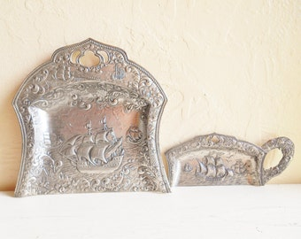 Antique Silver Nautical Ships Crumb Sweep and Scoop Matching Set
