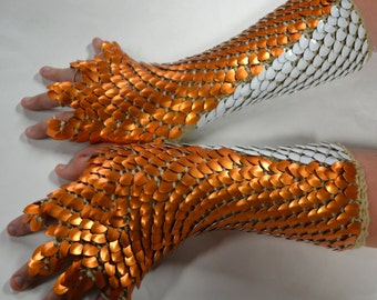 Dragonhide Scale armor gauntlets with half fingers Custom made to order