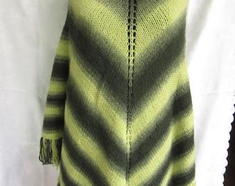 ON SALE..Handmade Green knitting PONCHO