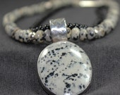 Dalmation Jasper Sterling Silver Beaded Necklace