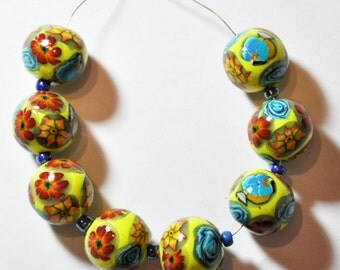 New Hand Made 8 round polymer clay 16 mm beads by myfiori