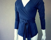Organic wrap shirt in navy blue or more colors