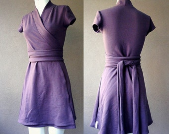 Organic Wrap dress, tunic wrap dress, purple dress, aline dress, handmade clothes