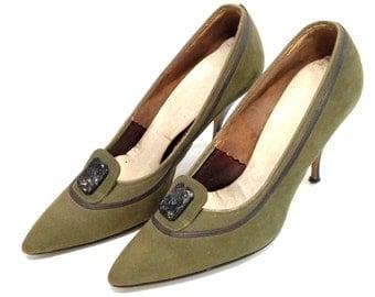 Vintage High Heels Olive Green High Heels Suede High Heels Pointed Toe Heels Size 6 Green Pumps 1950s High Heels Pin Up High Heels