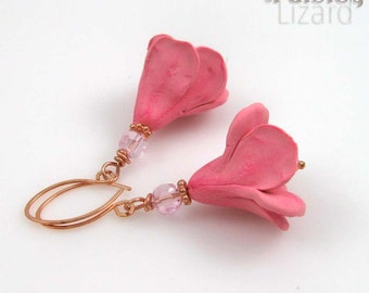 Rustic Pink Flower earrings, whimsical polymer clay blossom and glass beaded dangles on copper wire