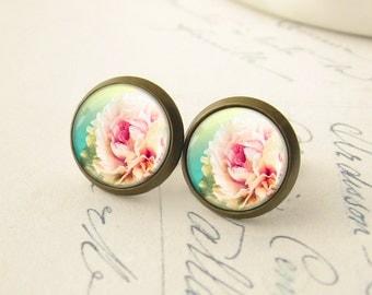 Vintage Pink Peony Rose Flower Posts, Pink Earrings. Flower Earrings. Glass Dome Earrings. Rose Stud Earrings. Aqua Pink Post Earrings.