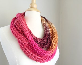 Pink rope necklace, knit rope necklace, pink knit scarf, pink knit cowl, knit chain necklace, pink chain necklace, pink cowl scarf