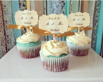 Soon to be Mr. and Mrs., Custom wedding cupcake toppers