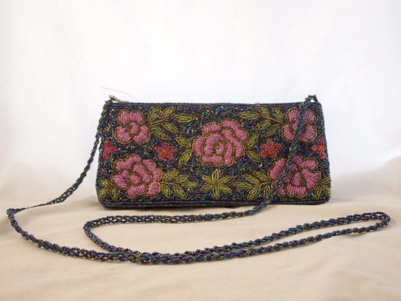 knots landing 1980 s beaded clutch evening bag navy by