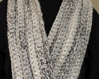 Marbled Black,White and Gray Infinity Scarf or Cowl for Women or Men