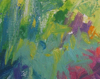 Backyard Original Abstract Painting 13 x 10 brilliant color, green, teal, yellow, pink