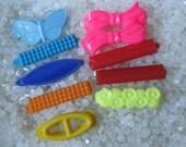 vintage  barrette plastic childs barrettes, 2 pairs, 6 individuals