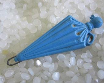 vintage barrette, blue umbrella with duck handle