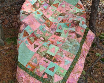 Pink and Green Batik Modern Twin Bed Quilt