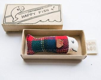 fabric Happy Fish in Box brooch pin - Harris