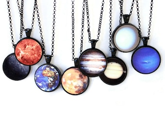 Planet Necklaces One Inch Black Solar System - Gift Idea for Geeks!