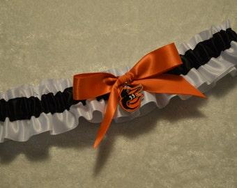 Handmade wedding garter toss BALTIMORE ORIOLES wedding garter on satin