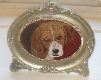Beagle Dog Portrait Embroidered Framed
