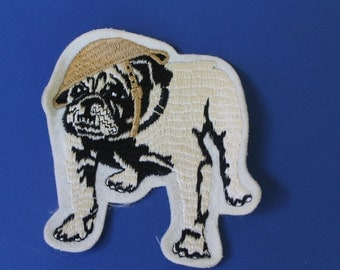 Bulldog with Helmet Patch Applique Unique Sewing Craft Supply