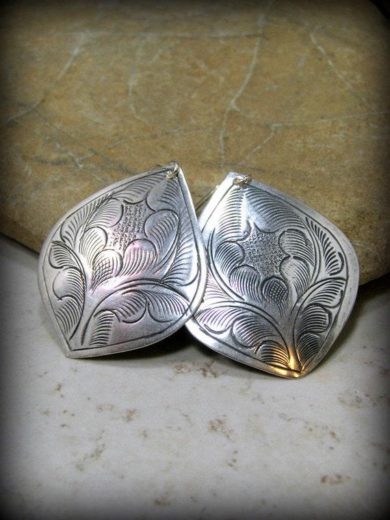 Tribal Earrings, Silver Earrings, Teardrop Earrings, Large Dangle Earrings, Bohemian Earrings, Boho Jewelry, Gypsy Earrings