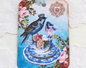 Bird Gift Tags, Vintage Teacup Tags, Birthday, Bridal Shower, Favor Tags, Crown Bluebird Tags, French High Tea Party Tag, Handmade Australia