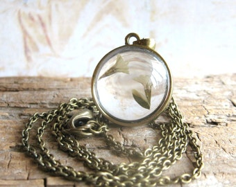 Flora - Real Flower Encased in Glass Antiqued Brass Chain Handmade Necklace