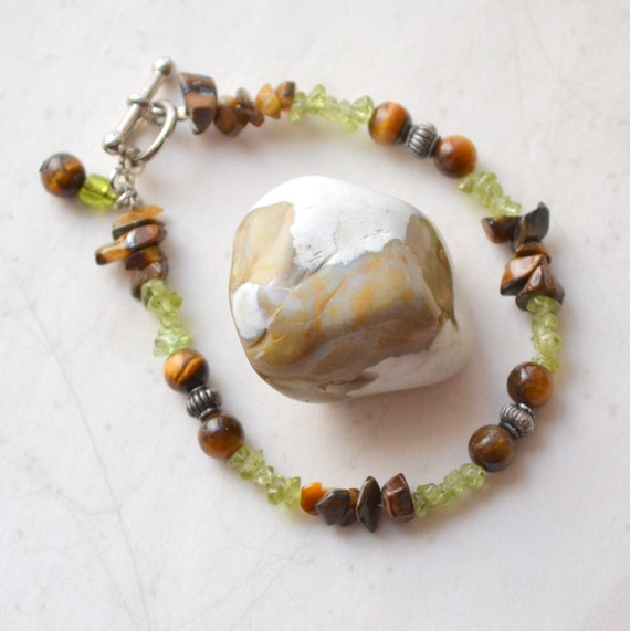 "Nature Girl Tigers Eye, Peridot Bracelet - Silver, Handmade OOAK - 6.75"" Small Size - Free US Shipping"