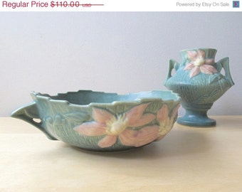 Holiday Sale Roseville Pottery Clematis Green Pink Console