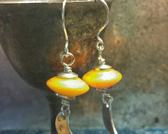 Shiny Sterling and Crescent Moon Orange Etched Sunset Glass Earrings - Lampwork and Silver - Mermaid Lagoon Series - Handmade